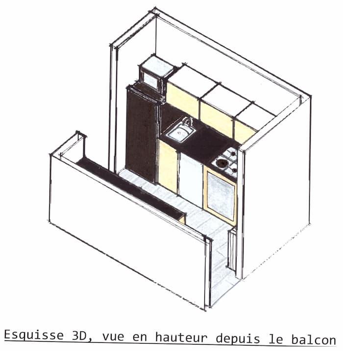 Esquisse 3D Rénovation cuisine vue depuis le balcon by Décoration et Jardins